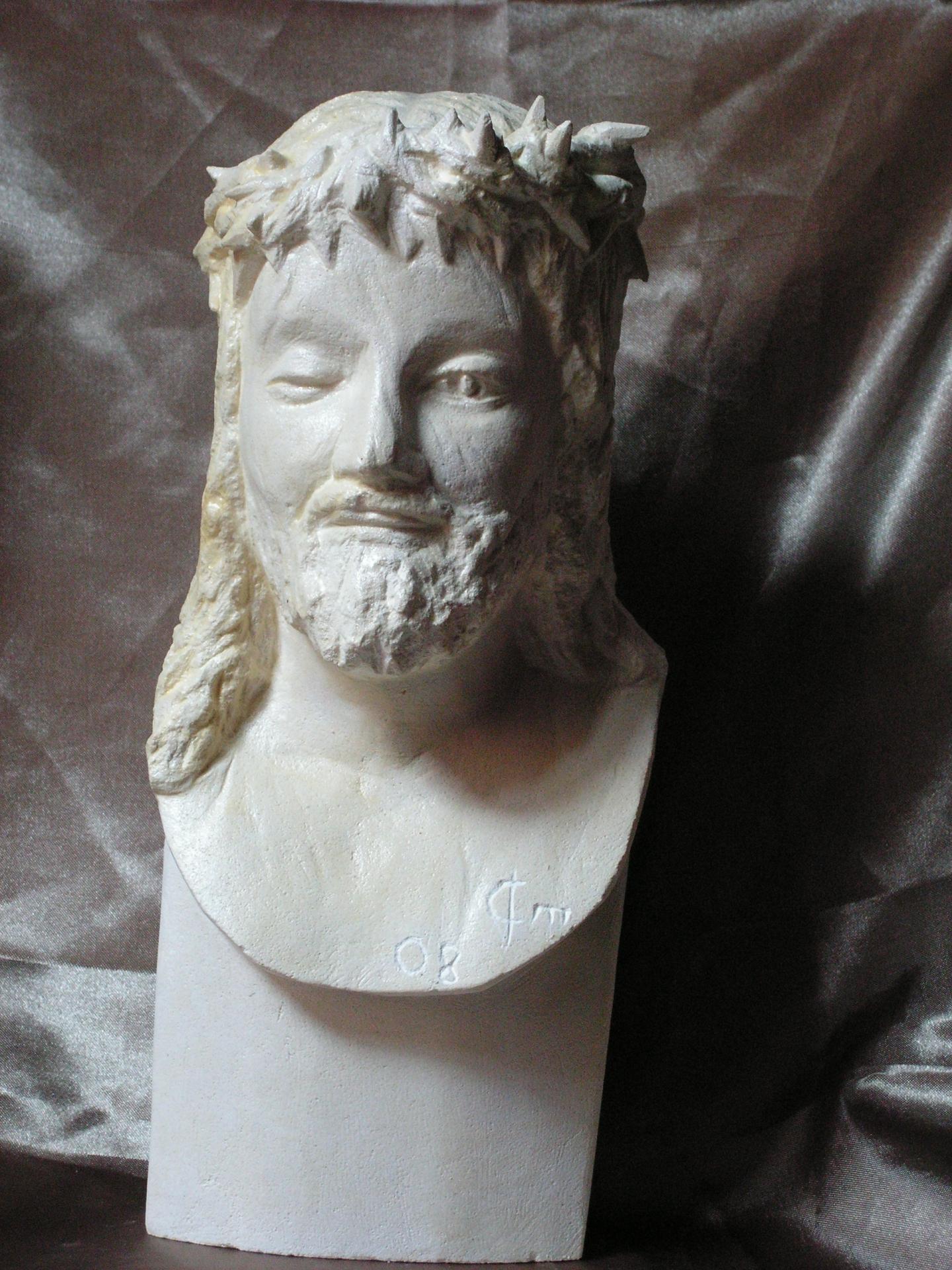 Buste d un christ couronne d epine 30cm 2