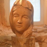 Buste d une vierge en pierre 30cm 15