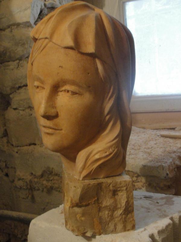 Buste d une vierge en pierre 30cm 17 1