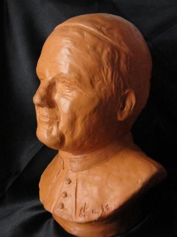 Buste de jean paul ii modelage terre cuite de 15cm 22