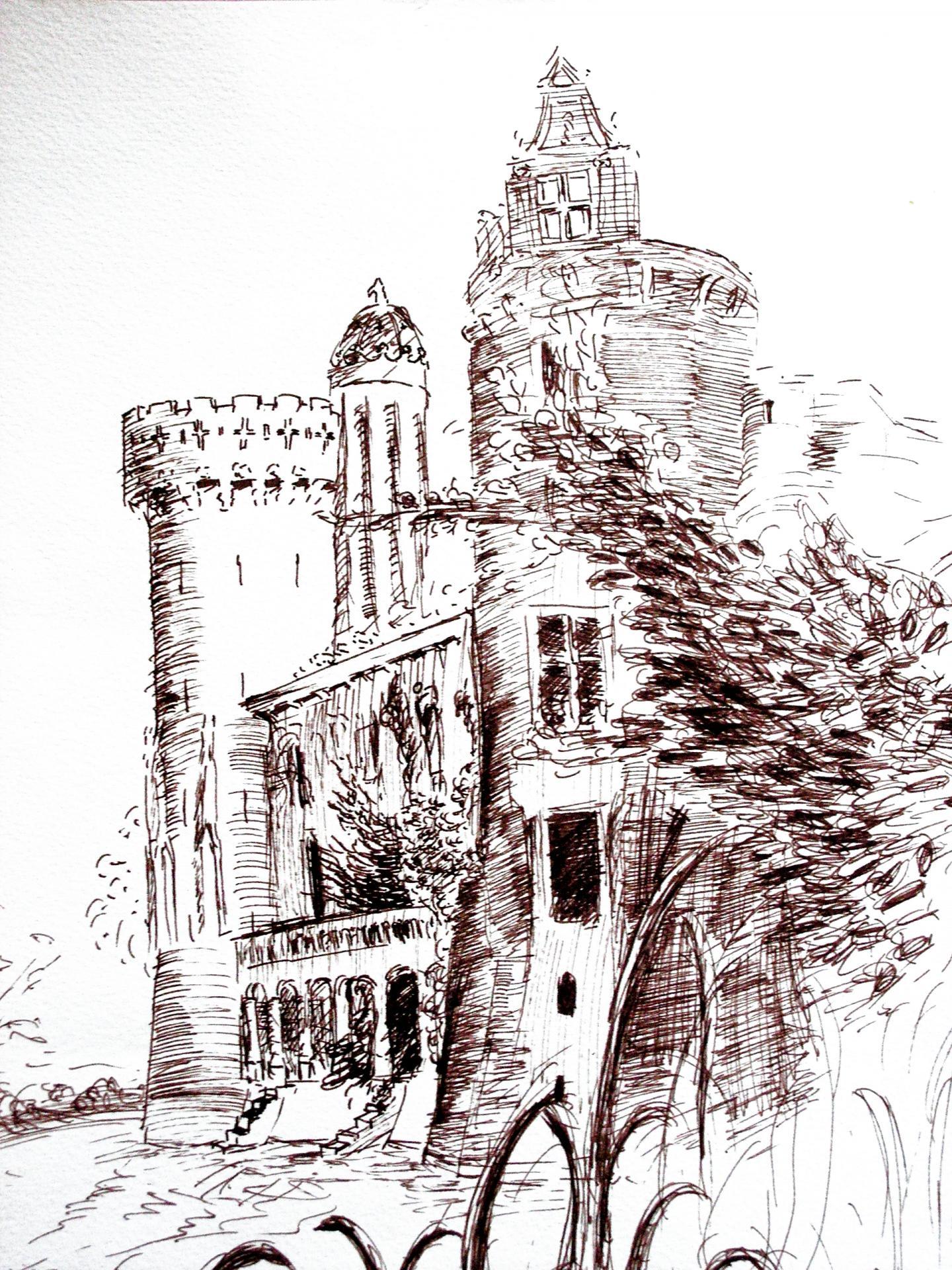 Chateau en ruine dessin a la plume de jean joseph chevalier 2