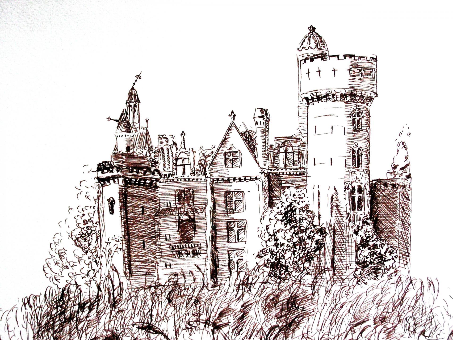 Chateau en ruine dessin a la plume de jean joseph chevalier