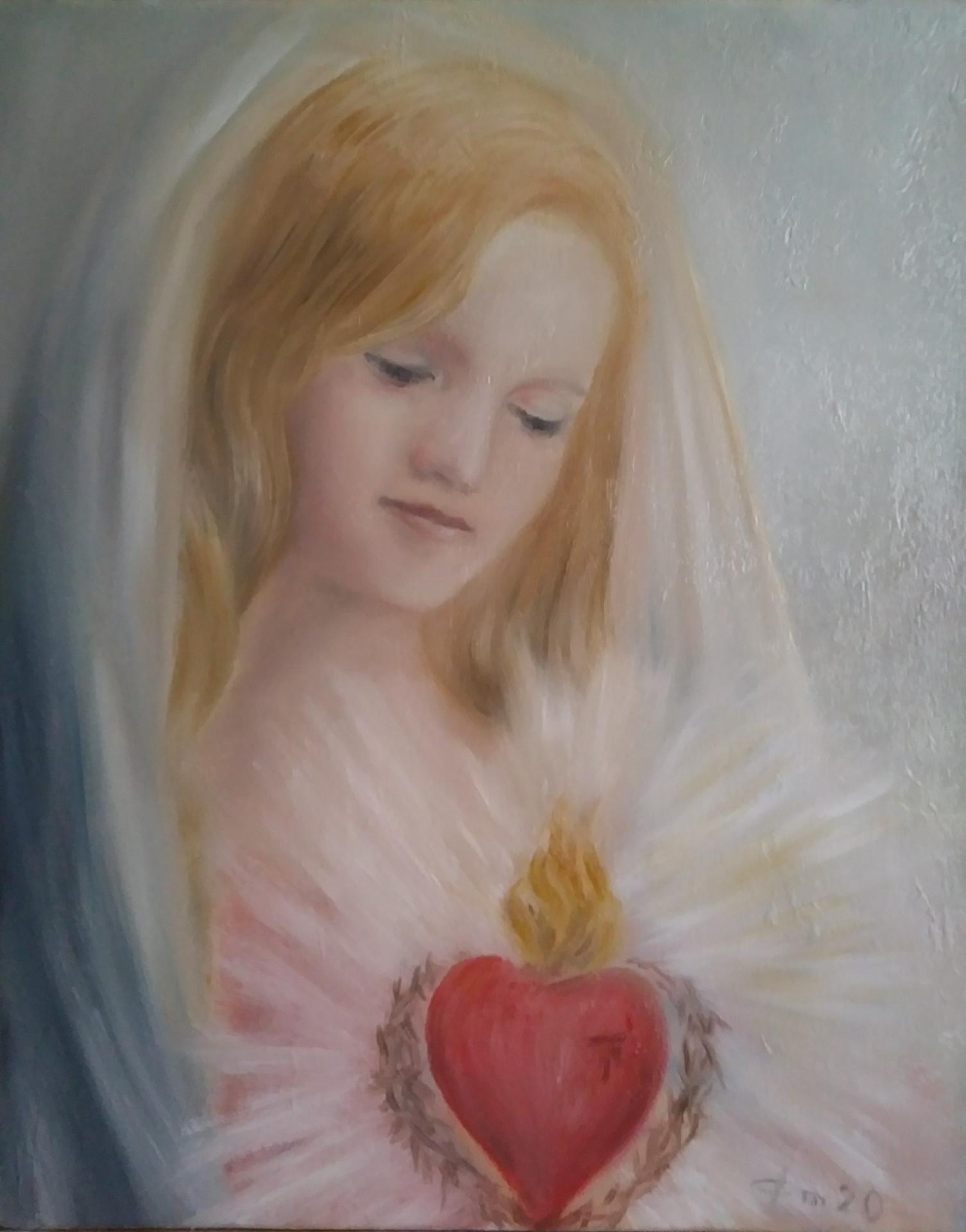 Coeur immaculee peinture d art sacre de jean joseph chevalier