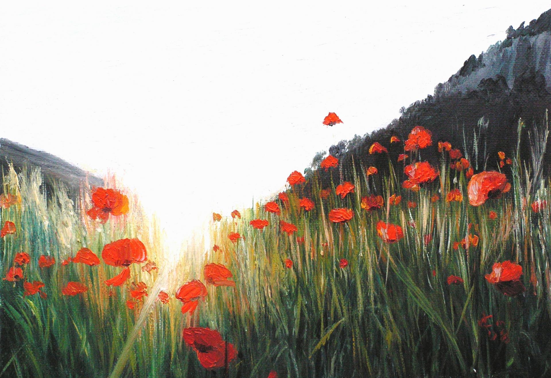 Coquelicot peinture a l huile d un paysage de jean joseph chevalier
