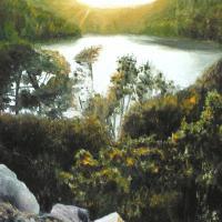 Derniers rayons peinture a l huile d un paysage par jean joseph chevalier