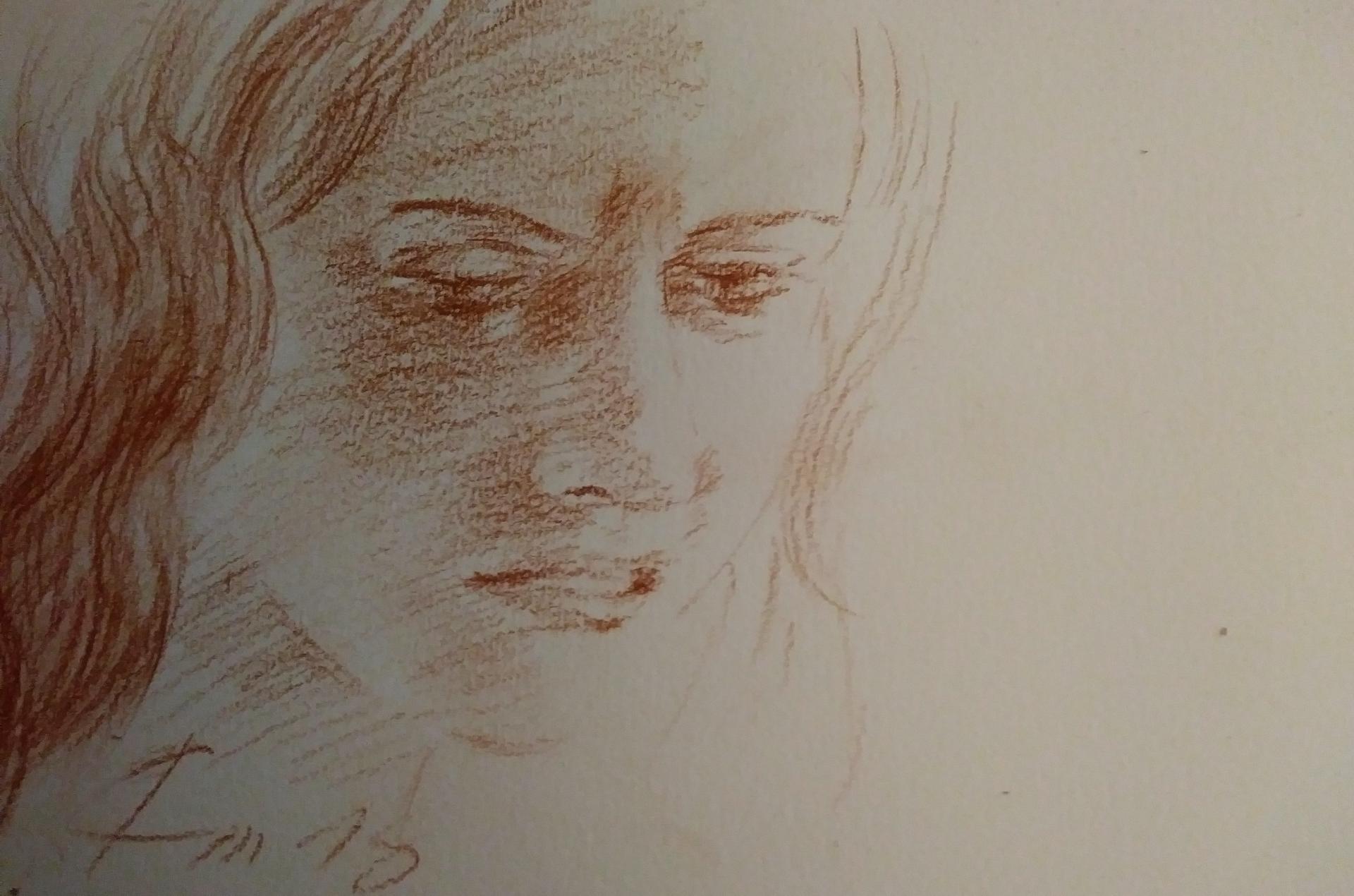 Portrait 4, dessin à la sanguine, douleur