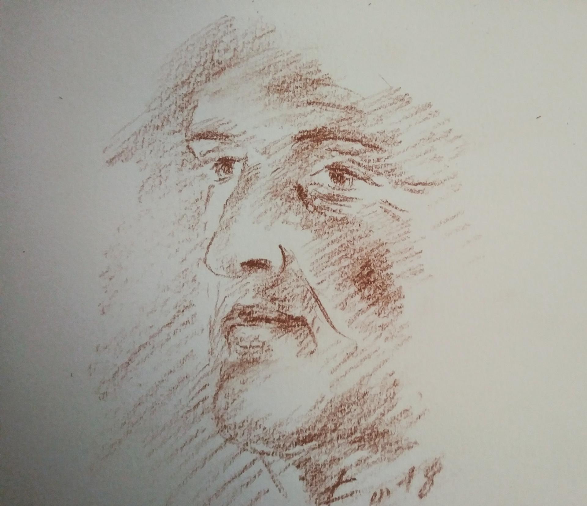 Portrait 3, dessin à la sanguine, vieillesse