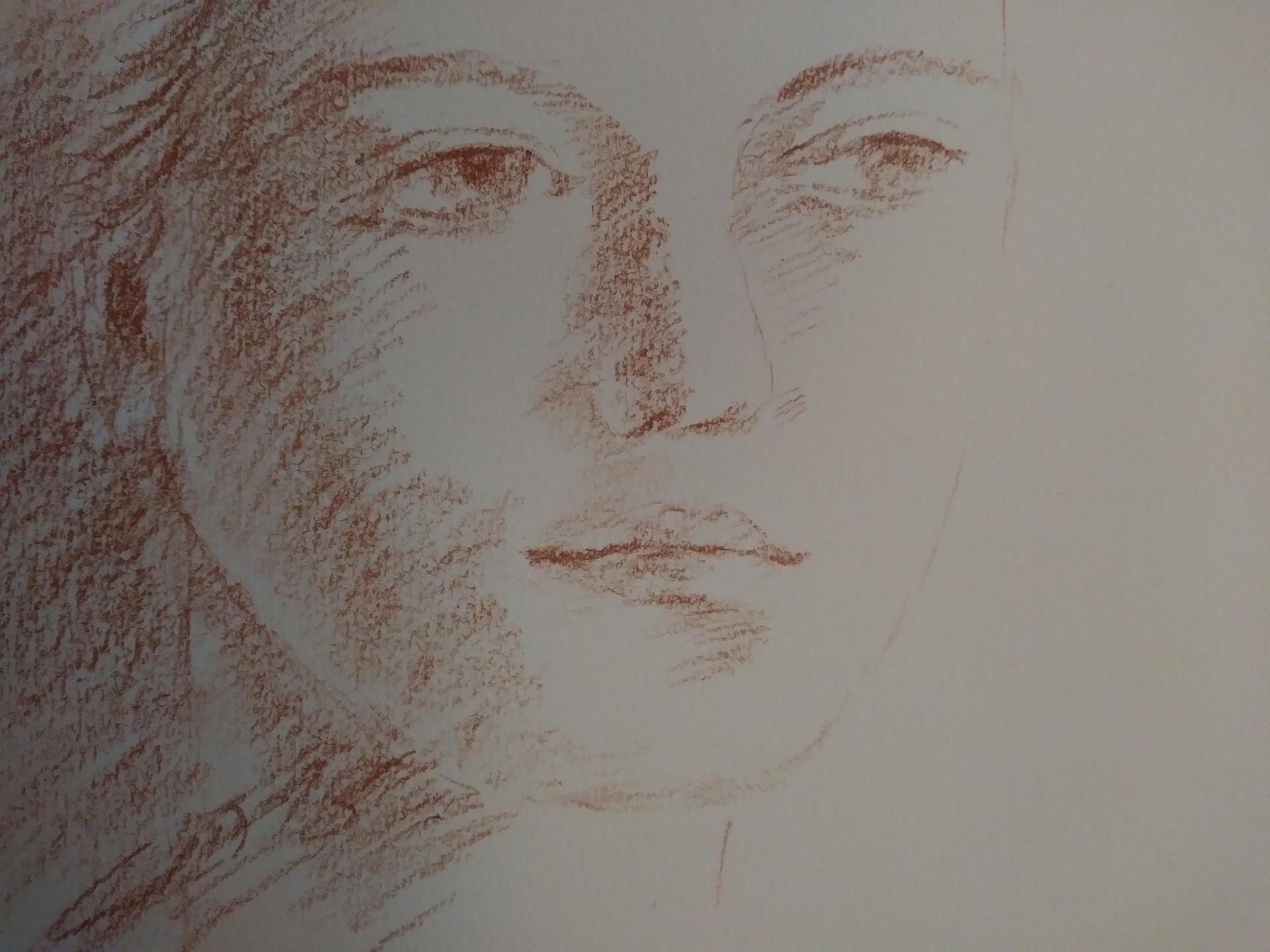 Portrait 1, dessin à la sanguine, jeunesse