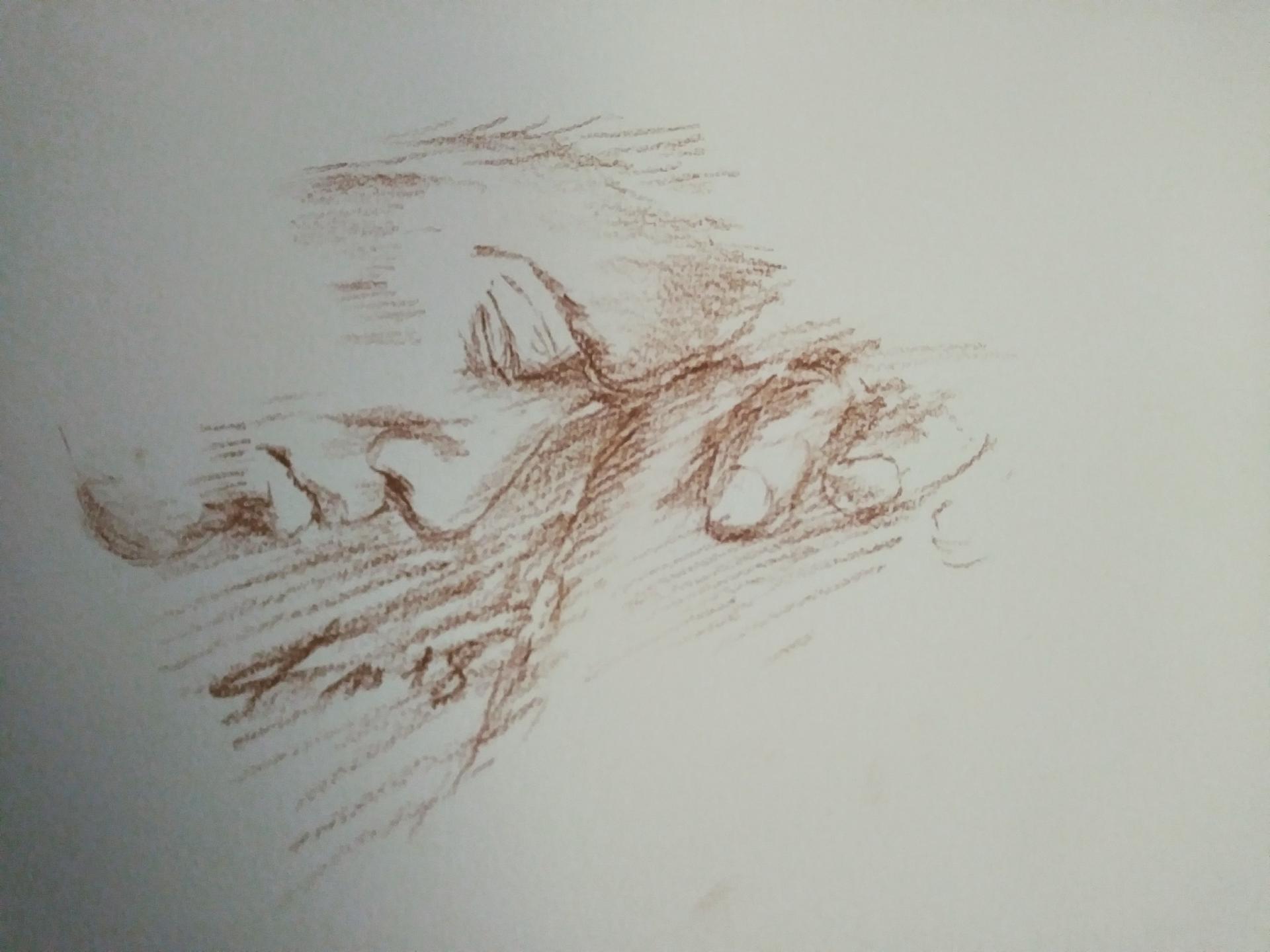 Portrait 2, dessin à la sanguine, prière