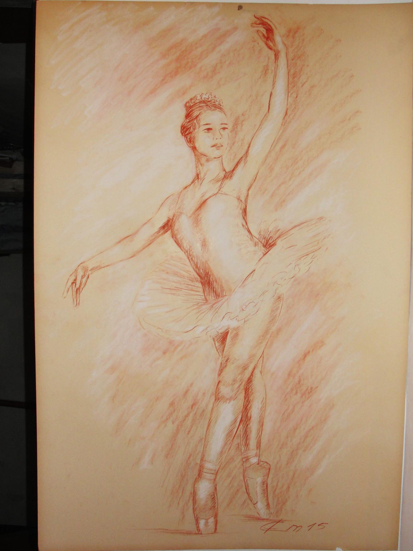 Danseuse 3, dessin à la sanguine