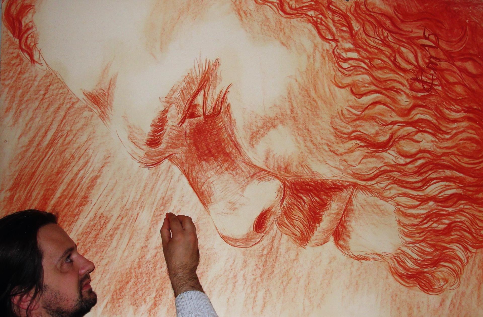 Grand format 4, dessin à la sanguine, portrait