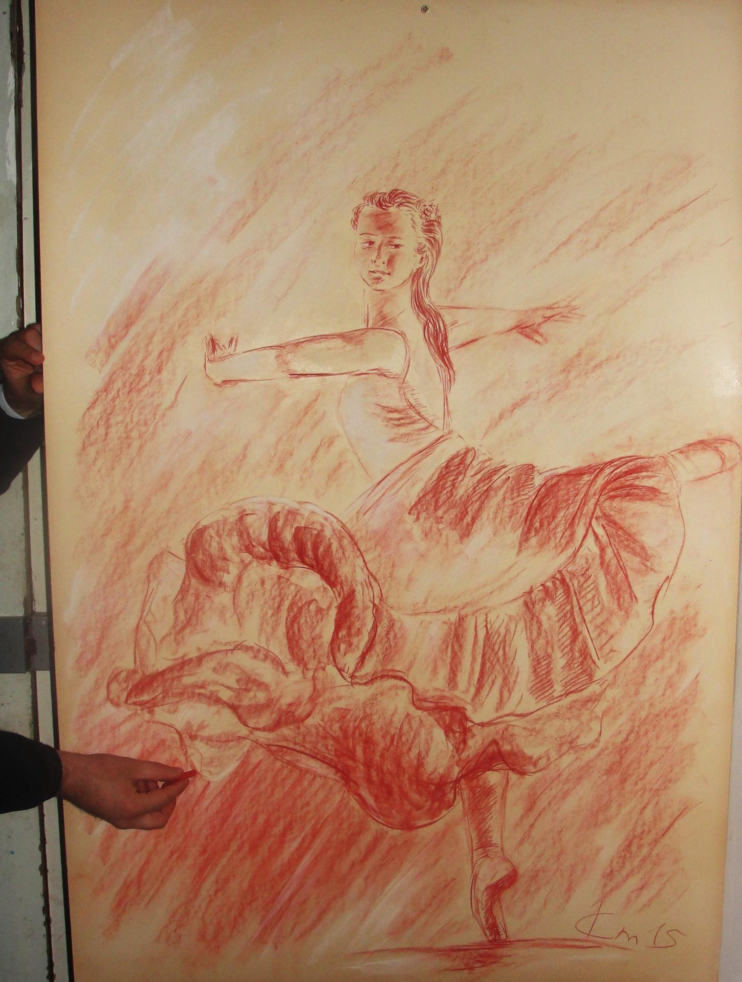 Danseuse 1, dessin à la sanguine
