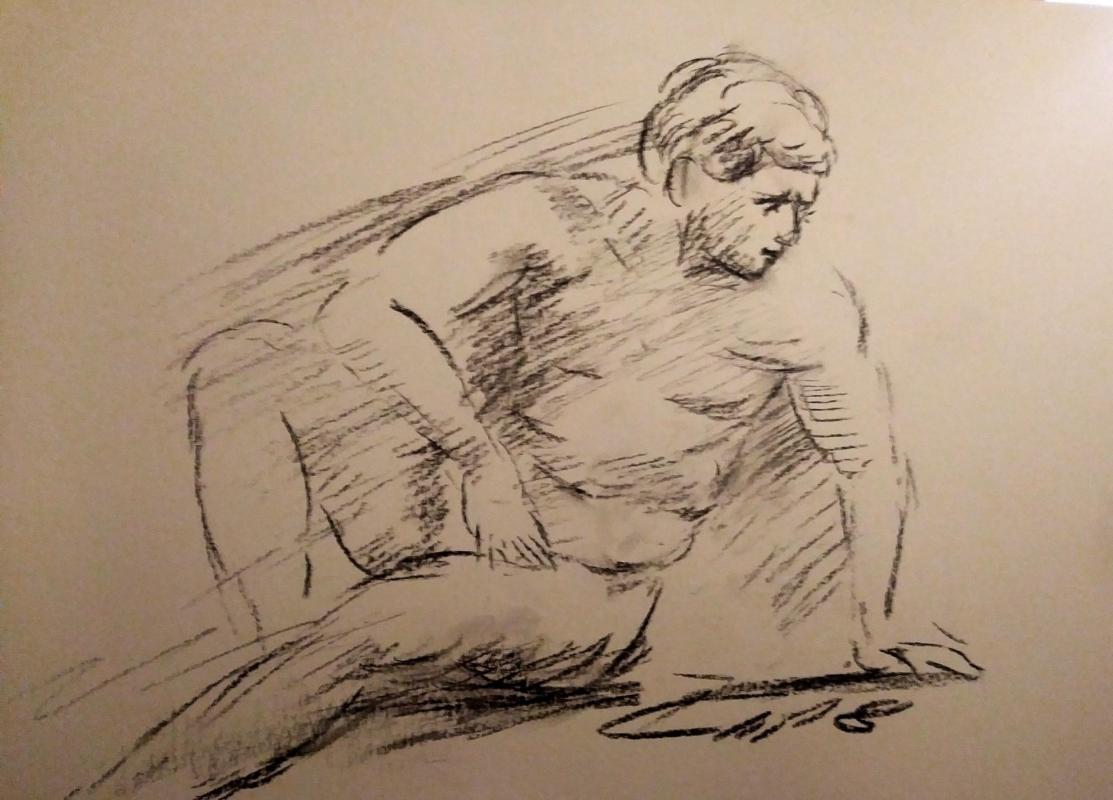 Dessin  d'un nu masculin au fusain de jean joseph chevalier