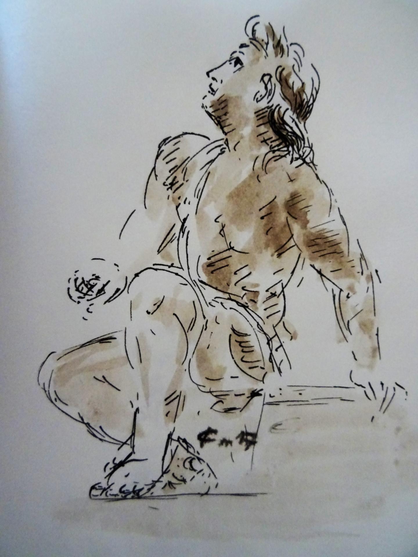Dessin au lavis de jean joseph chevalier 189