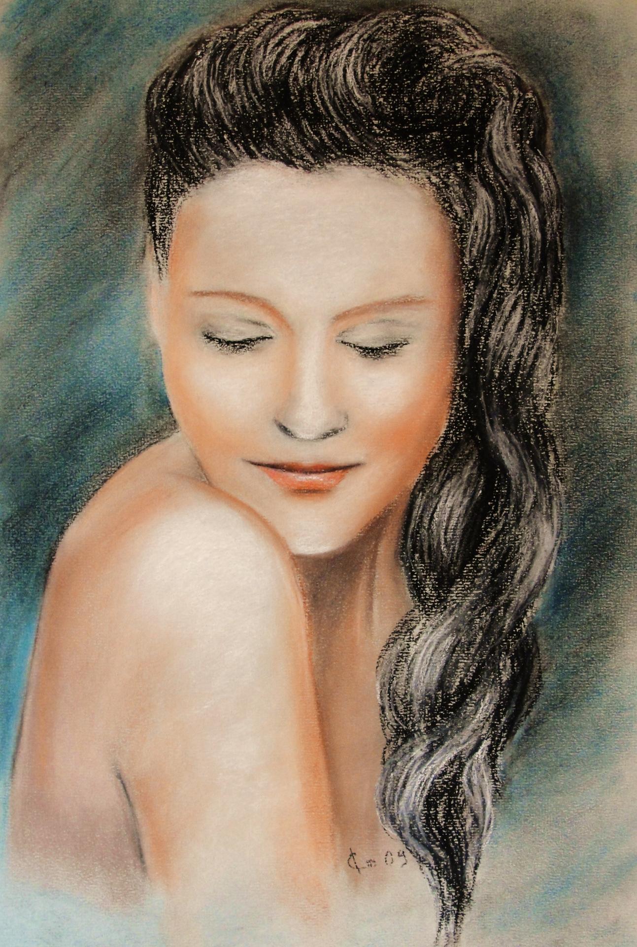 Portrait 1, dessin au pastel sec