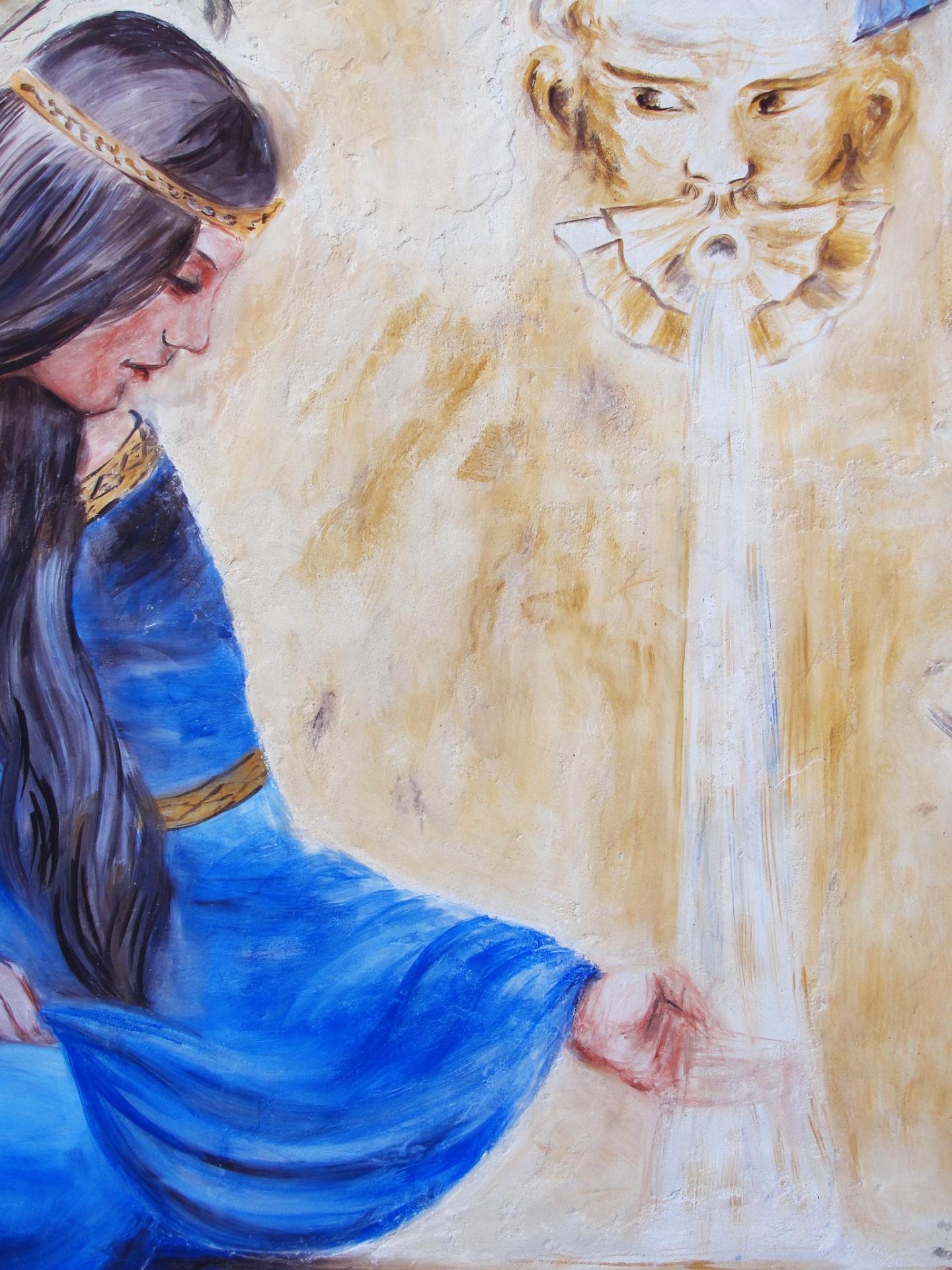 Fresque a fresco Dame à la fontaine détail