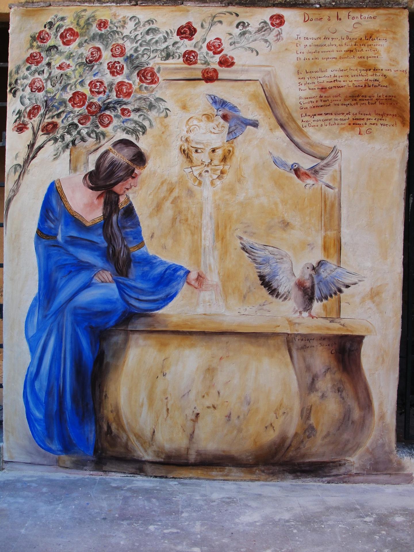 Freasque a fresco Dame à la fontaine