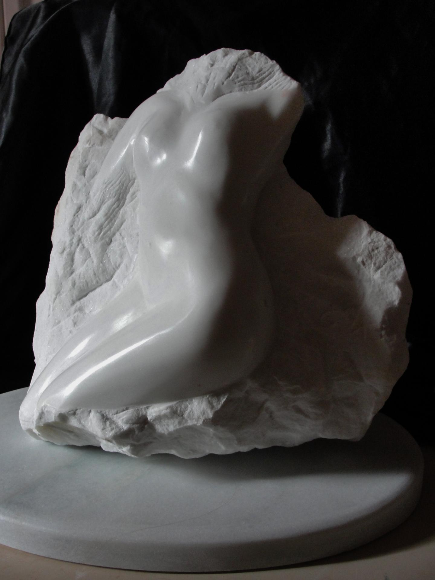 Eveil sculpture d un nu feminin en marbre 40cm relief de jean joseph chevalier 2