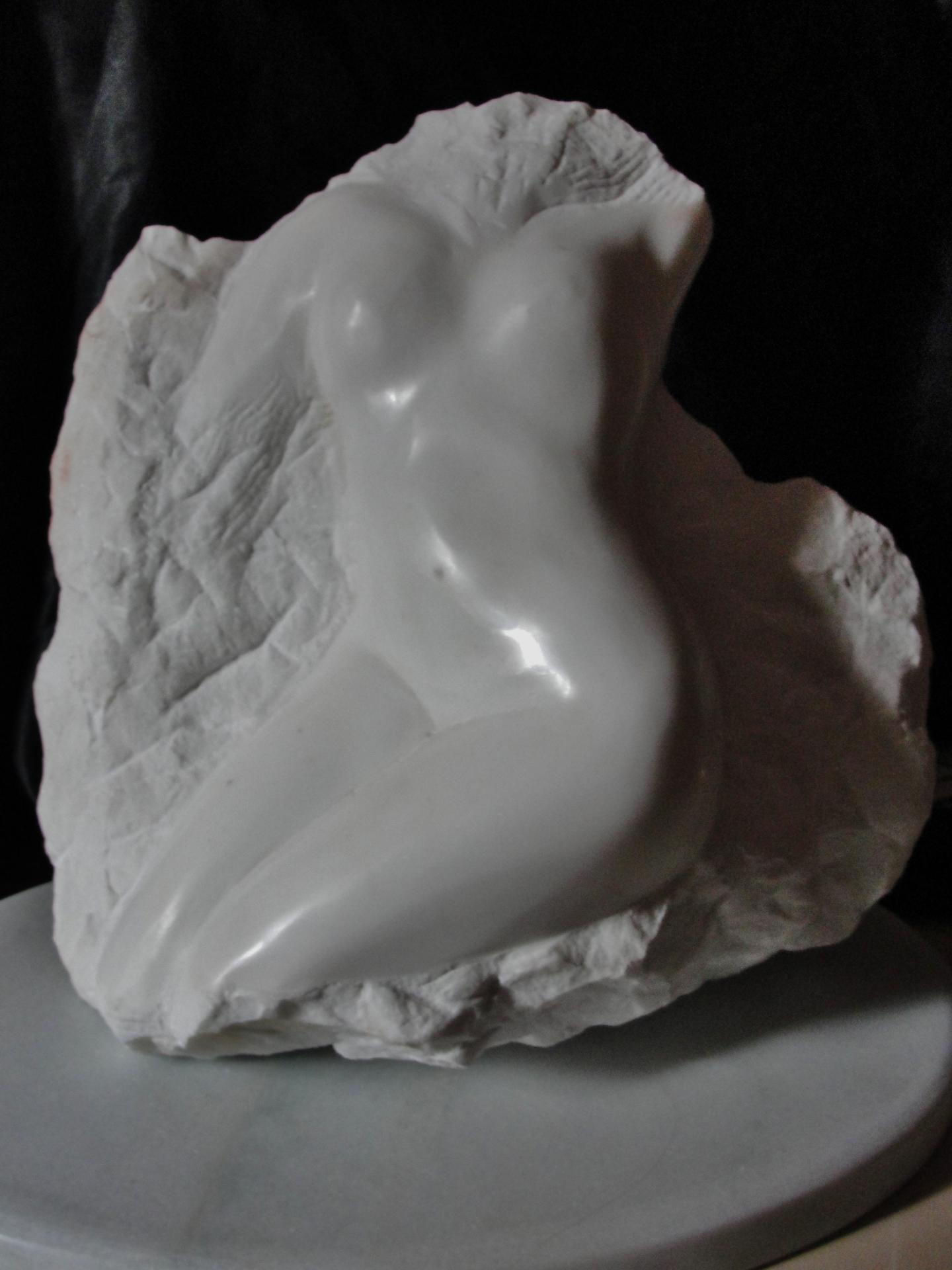 Eveil sculpture d un nu feminin en marbre 40cm relief de jean joseph chevalier 3
