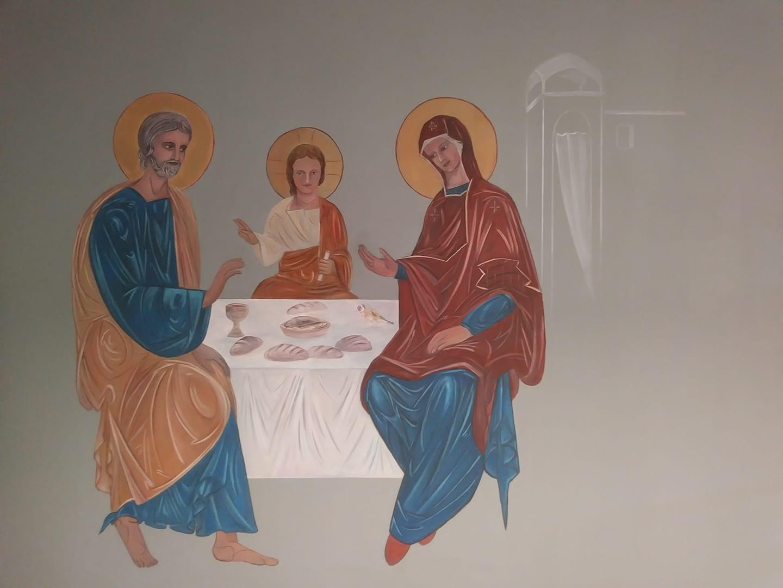 Fresque peinture murale de la ste famille et trompe l oeil de la porte etroite par jean joseph chevalier 1