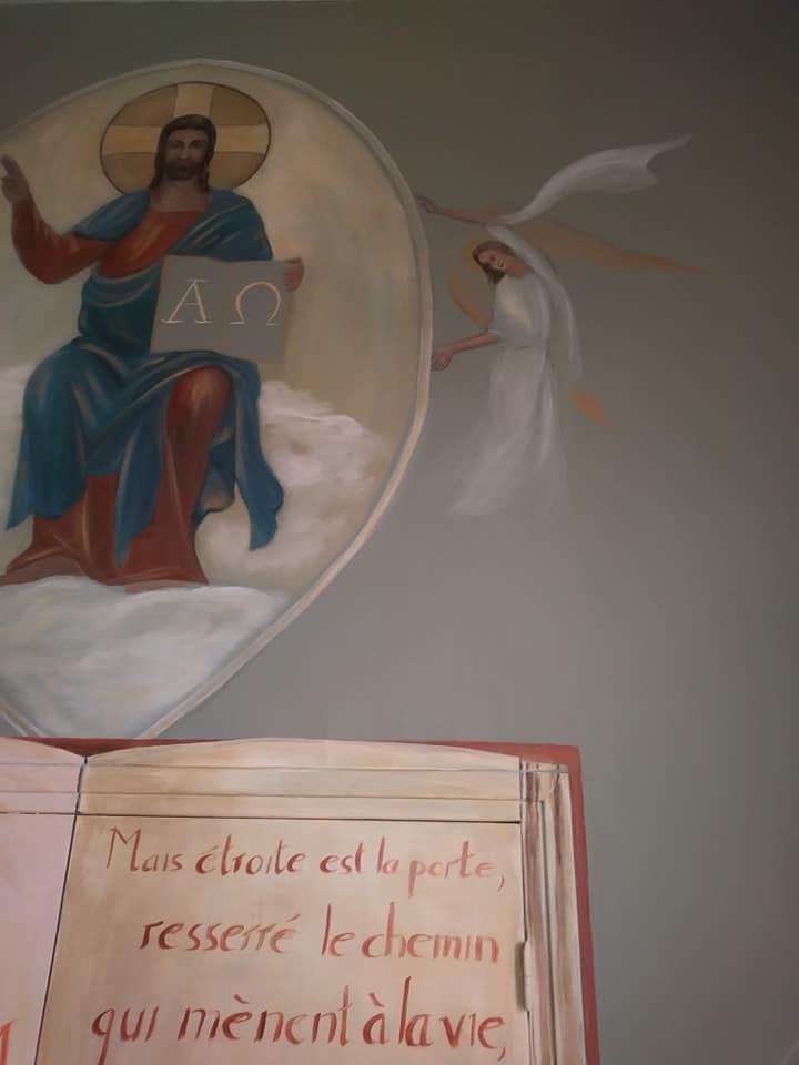 Fresque peinture murale de la ste famille et trompe l oeil de la porte etroite par jean joseph chevalier 2