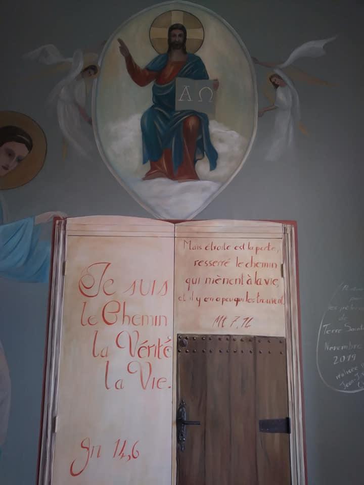 Fresque peinture murale de la ste famille et trompe l oeil de la porte etroite par jean joseph chevalier 5