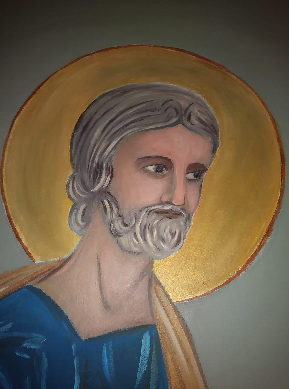 Fresque peinture murale de la ste famille et trompe l oeil de la porte etroite par jean joseph chevalier 6