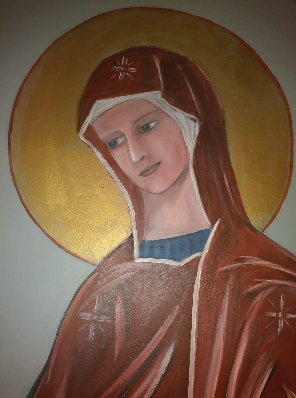 Fresque peinture murale de la ste famille et trompe l oeil de la porte etroite par jean joseph chevalier 7