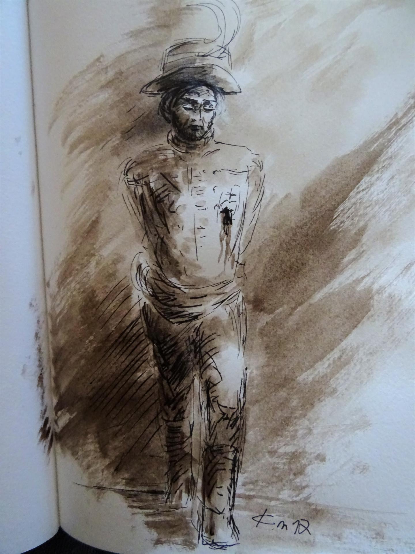 Mort de charette dessin au lavis de jean joseph chevalier 139