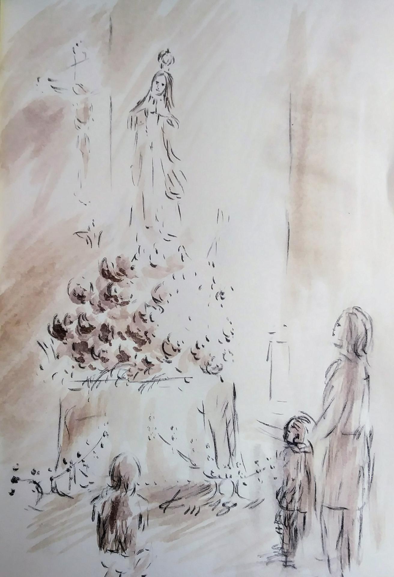 Notre dame de fatima dessin de jean joseph chevaler