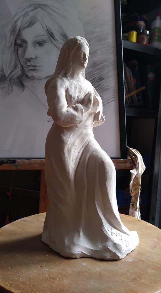 Notre dame de l etoile modelage statuette en terre cuite de jean joseph chevalier 1