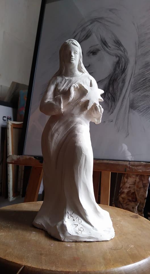 Notre dame de l etoile modelage statuette en terre cuite de jean joseph chevalier 3