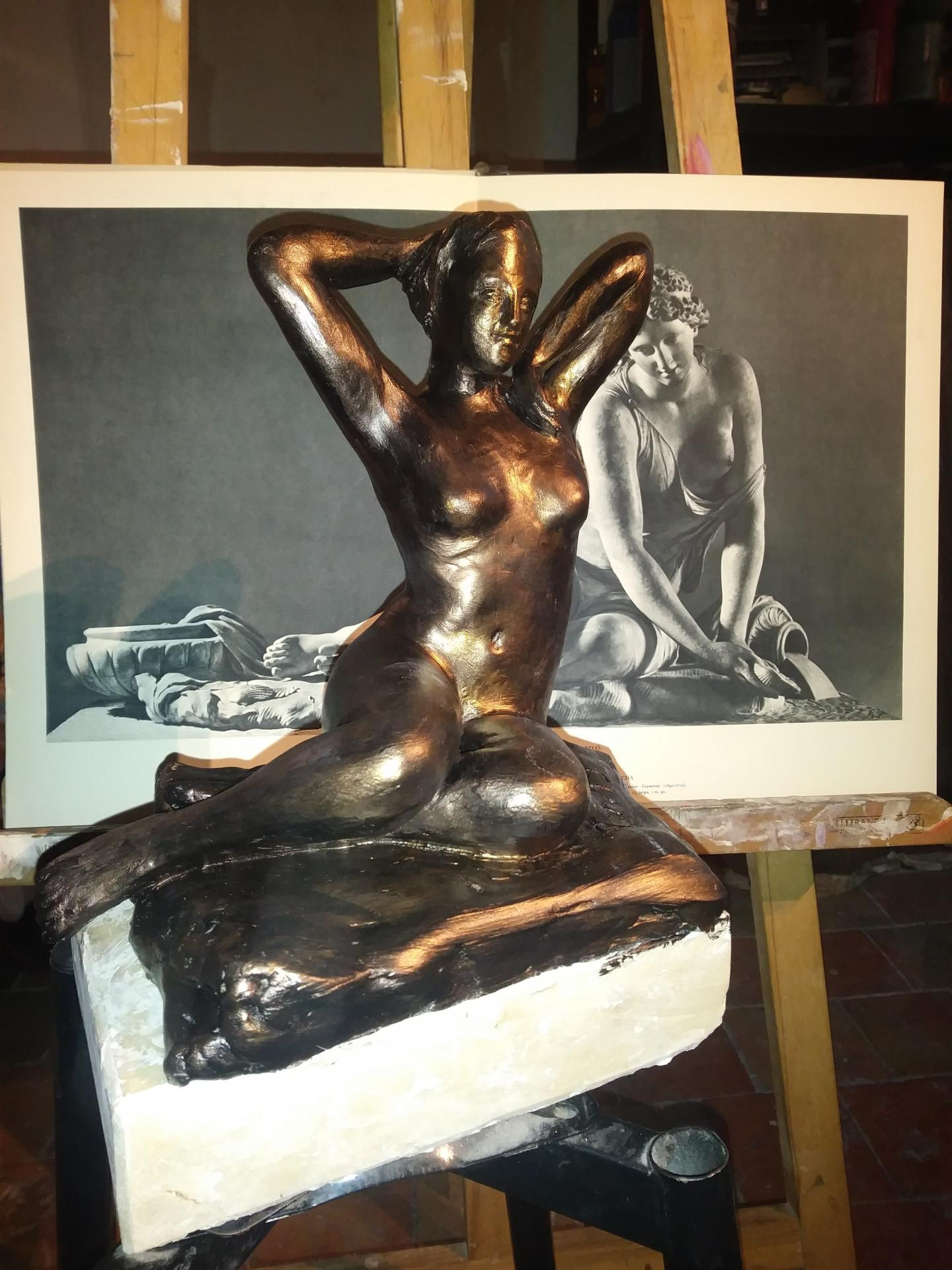 Nue sculpture en terre patinee de jean joseph chevalier 1