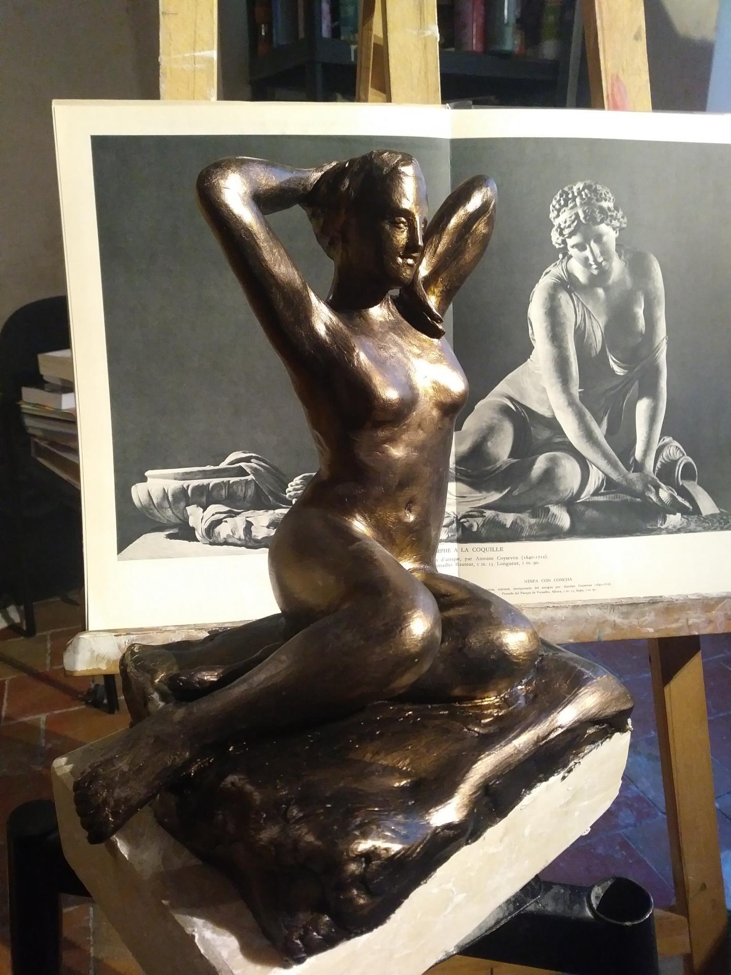 Nue sculpture en terre patinee de jean joseph chevalier 2
