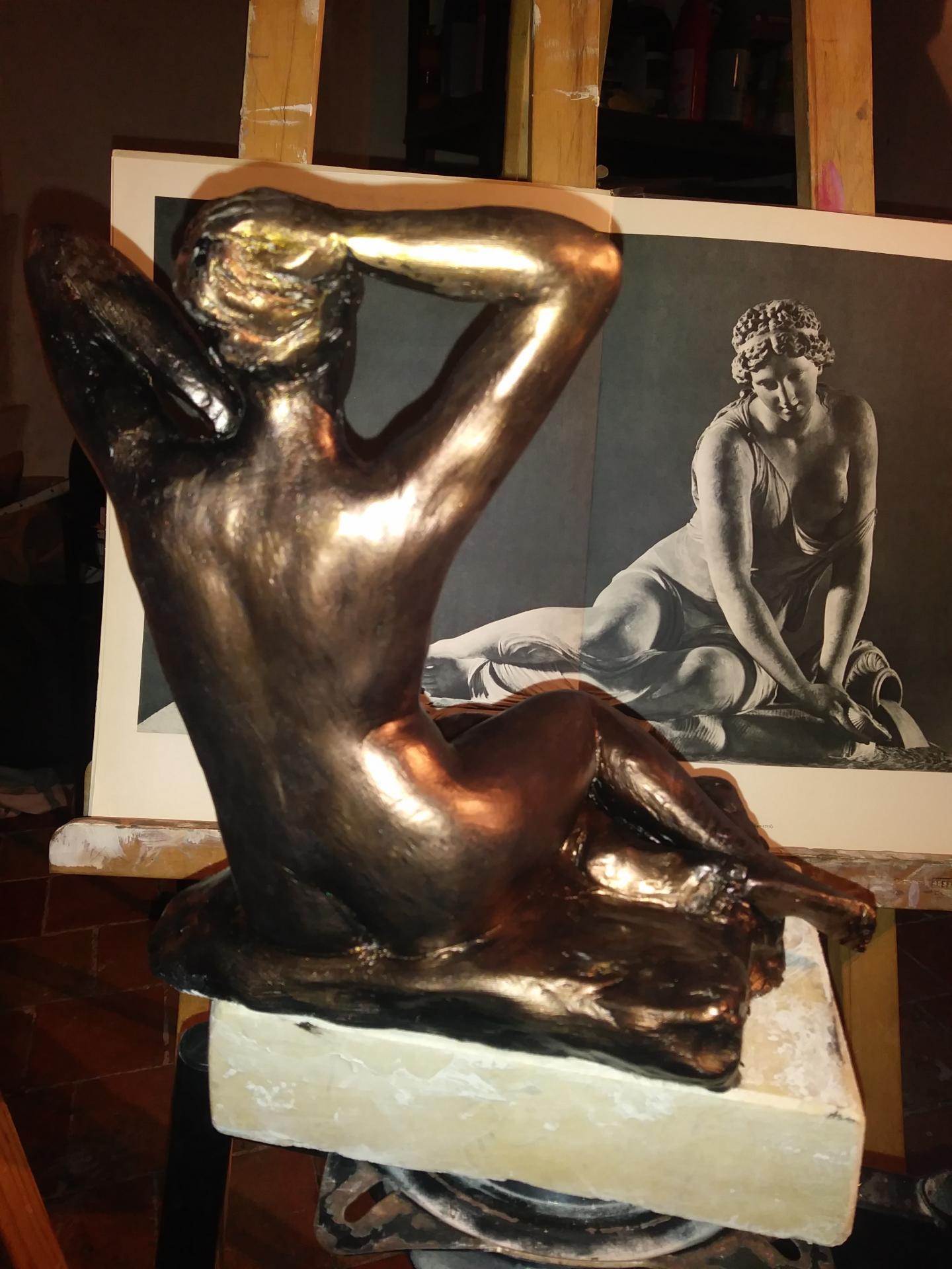Nue sculpture en terre patinee de jean joseph chevalier 4