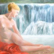 Nymphe a la cascade peinture de jean joseph chevalier
