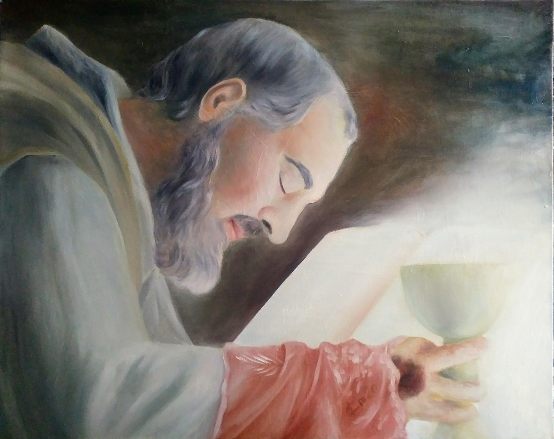 Padre pio consecration du vin tableau de jean joseph chevalier