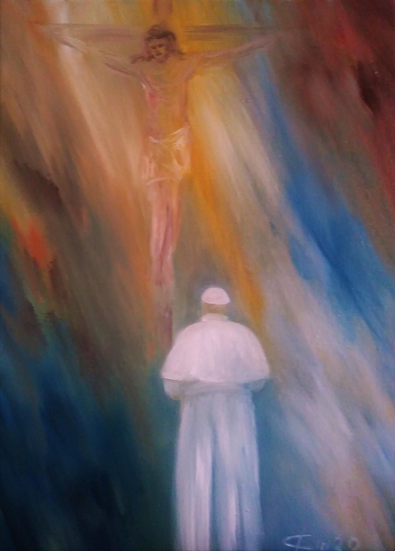 Pape francois face au crucifix