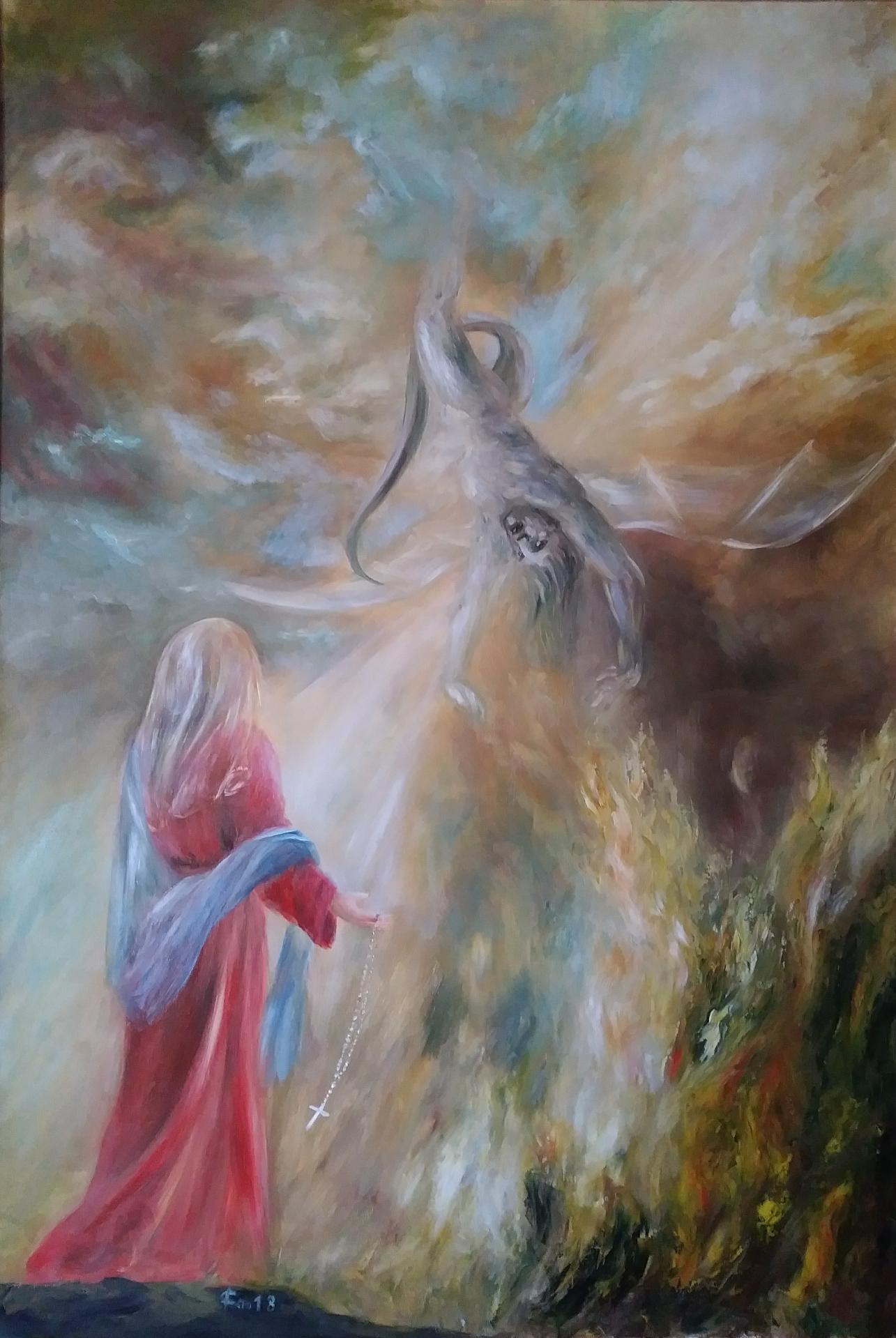 Notre Dame du rosaire Peinture a l huile de jean joseph chevalier
