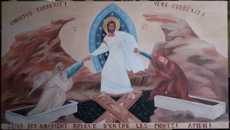 Peinture icone de la resurrection descente aux enfers par jean joseph chevalier