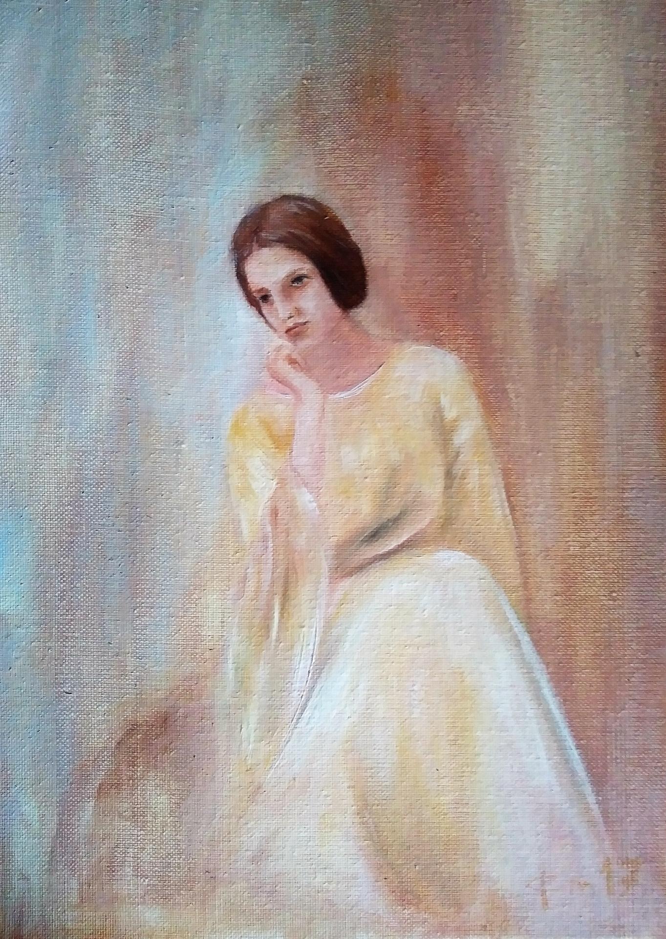 Pensive tableau d une femme par jean joseph chevalier