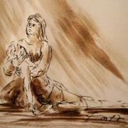 Pieta dessin au lavis de jean joseph chevalier 114