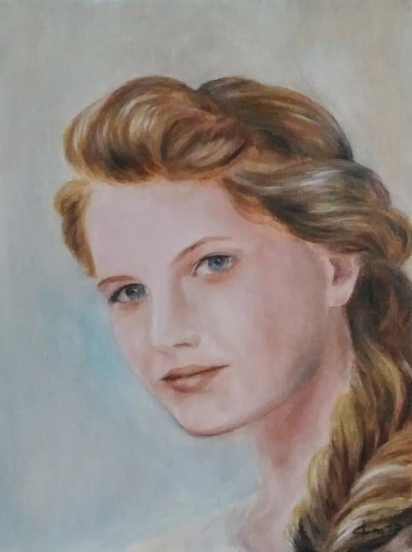 Portrait d une femme a la tresse tableau de jean joseph chevalier