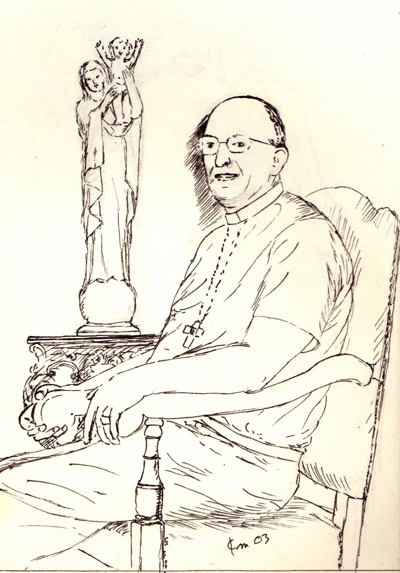Portrait de mgr rey dessin a la plume de jean joseph chevalier 47