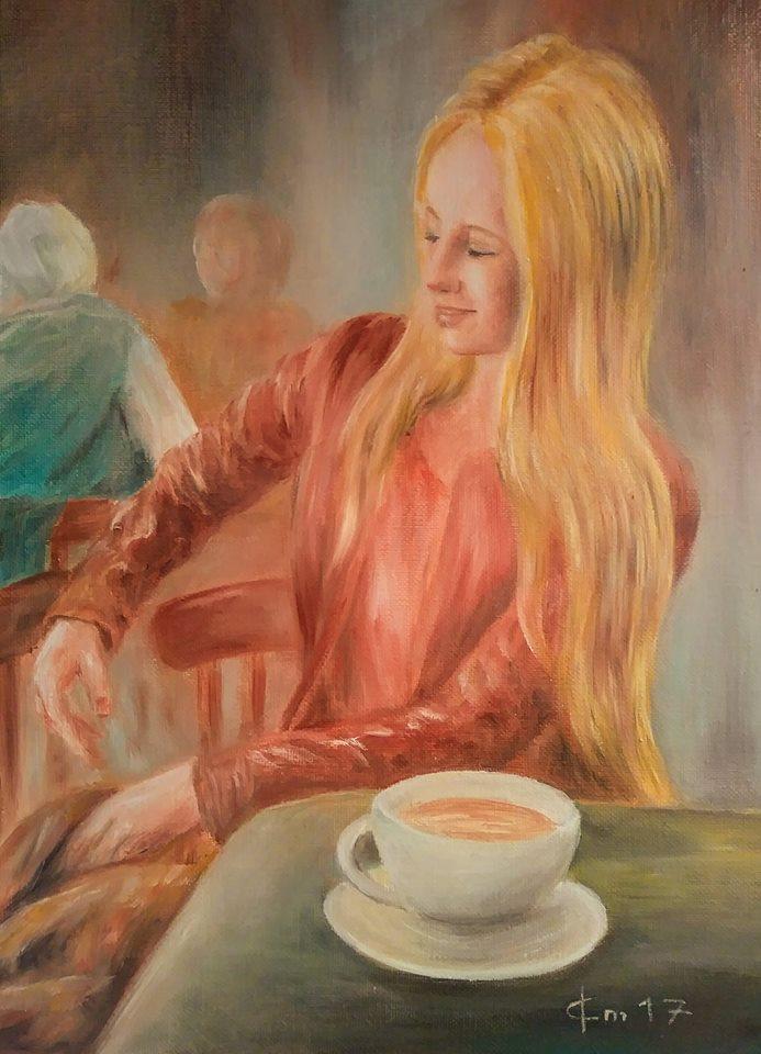 Portrait femme dans un cafe par jean joseph chevalier