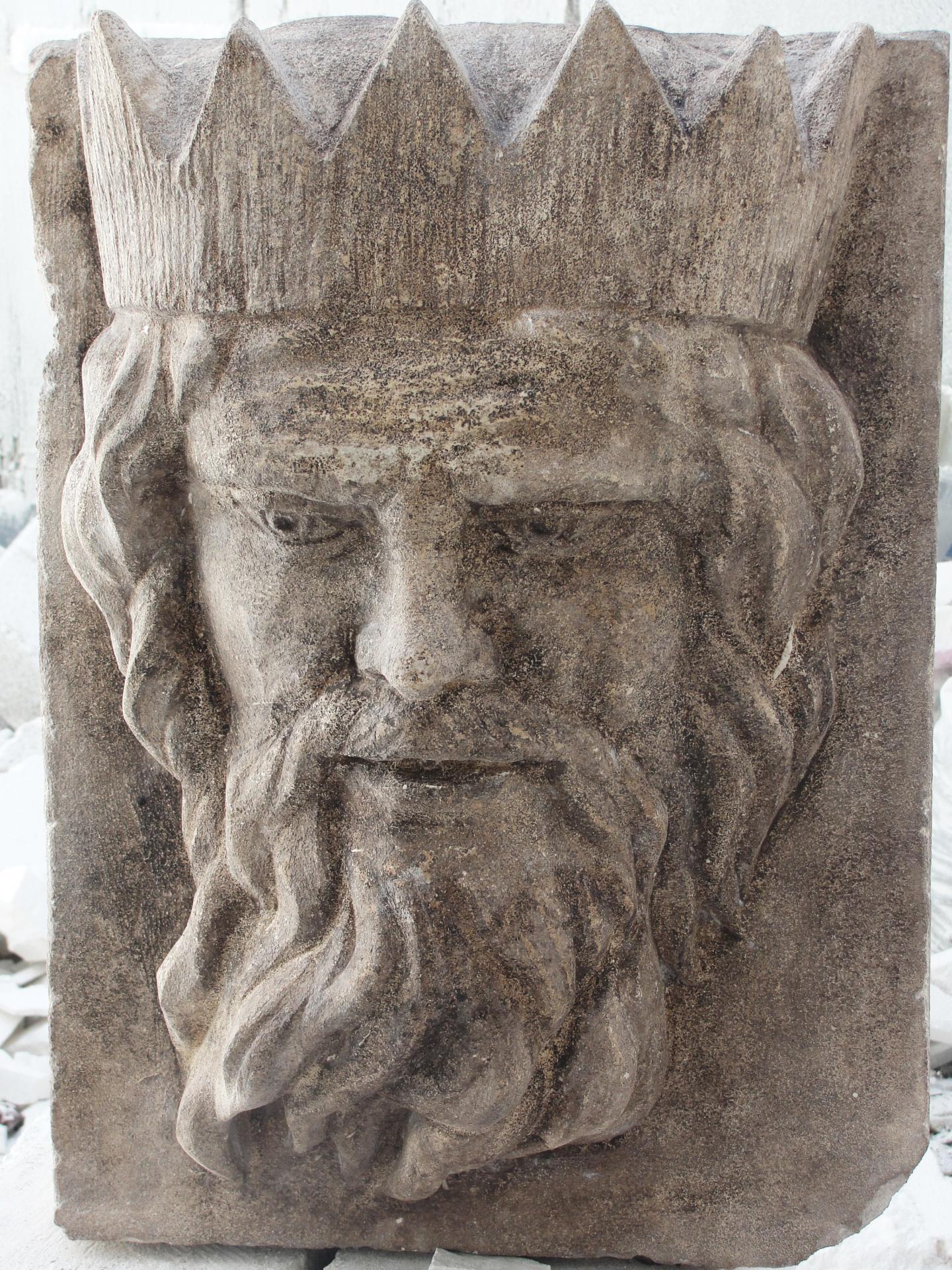 Poseidon mascaron en pierre 75cm par jean joseph chevalier 2