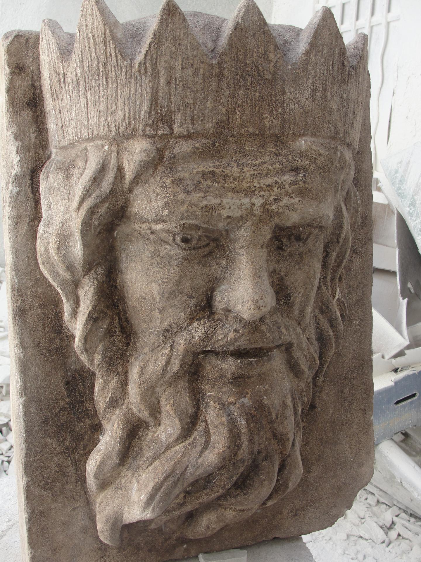 Poseidon mascaron en pierre 75cm par jean joseph chevalier 3