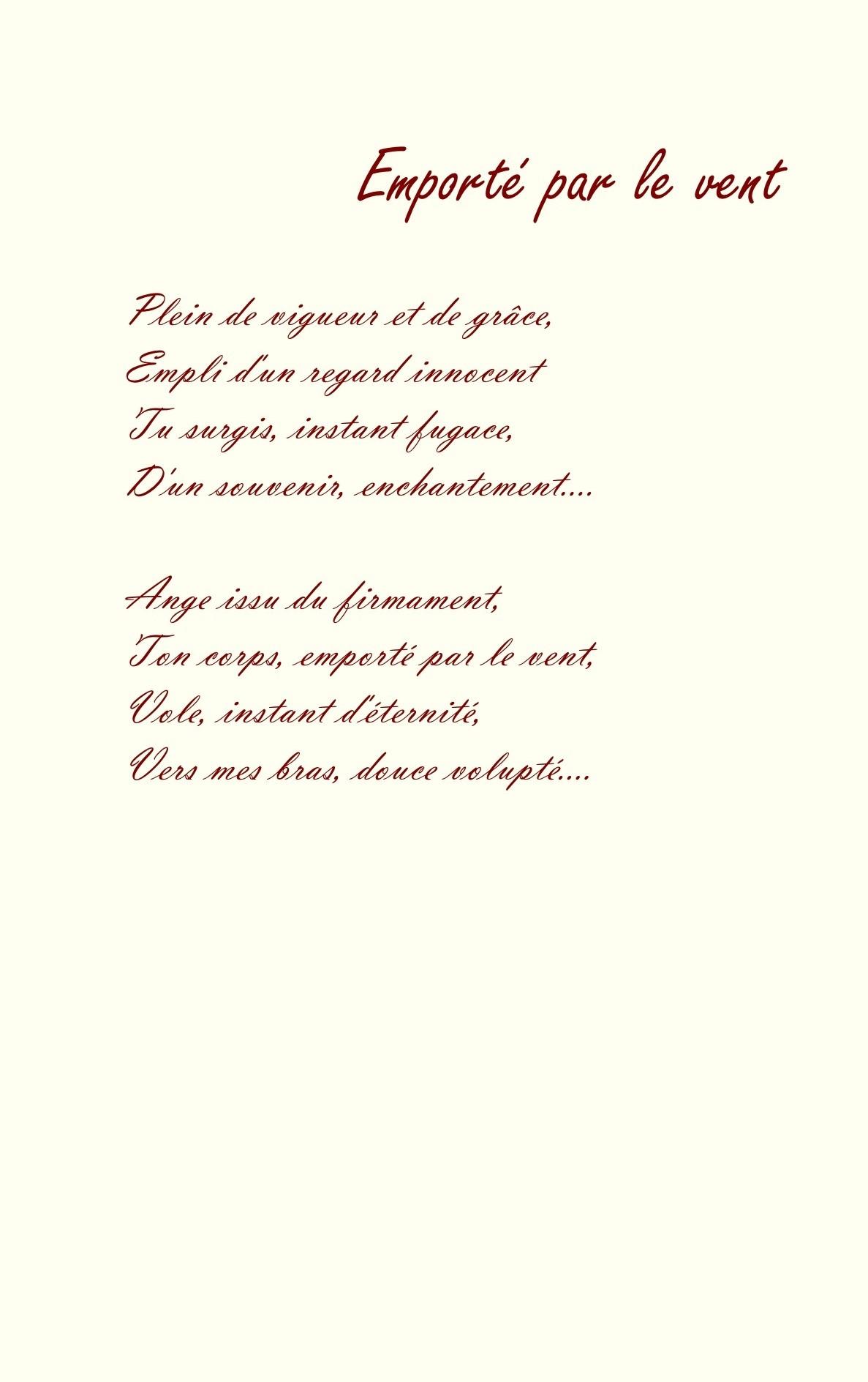 17 Emporté Par Le Vent Poème Et Dessin à La Sanguine De
