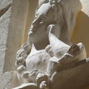 Relief en pierre d une femme accoudee a sa fenetre 70cm par jean joseph chevalier 88 1