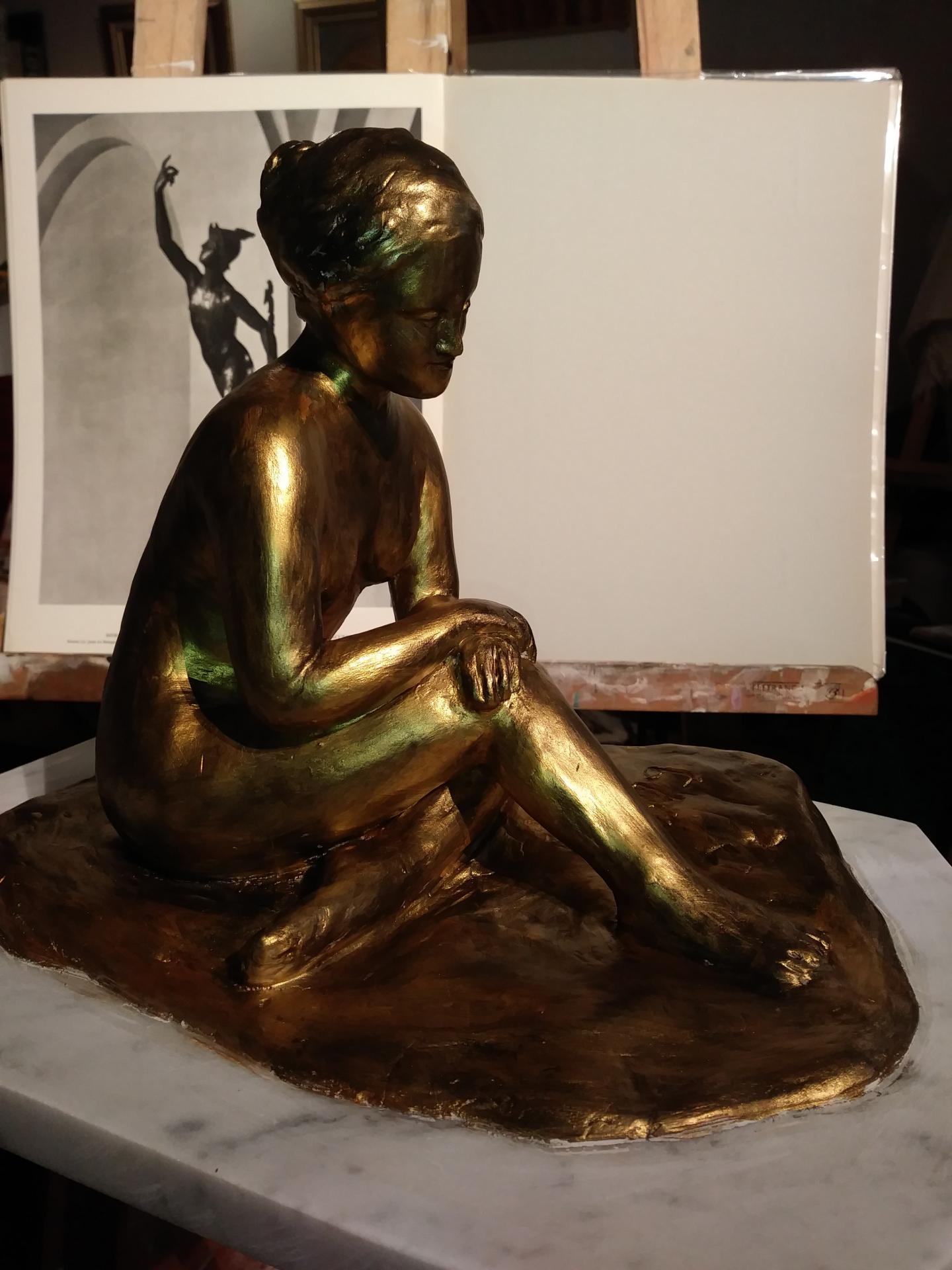Sculpture de nue, argile patinée (baigneuse) 1